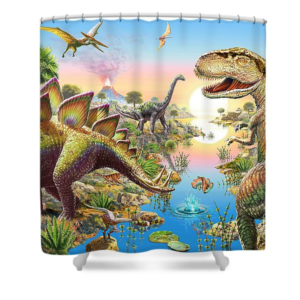 Jurassic River Shower Curtain
