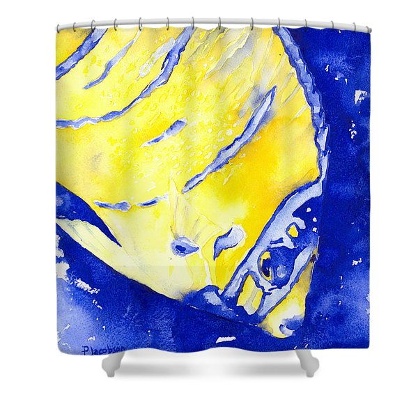 Juvenile Queen Angelfish Shower Curtain
