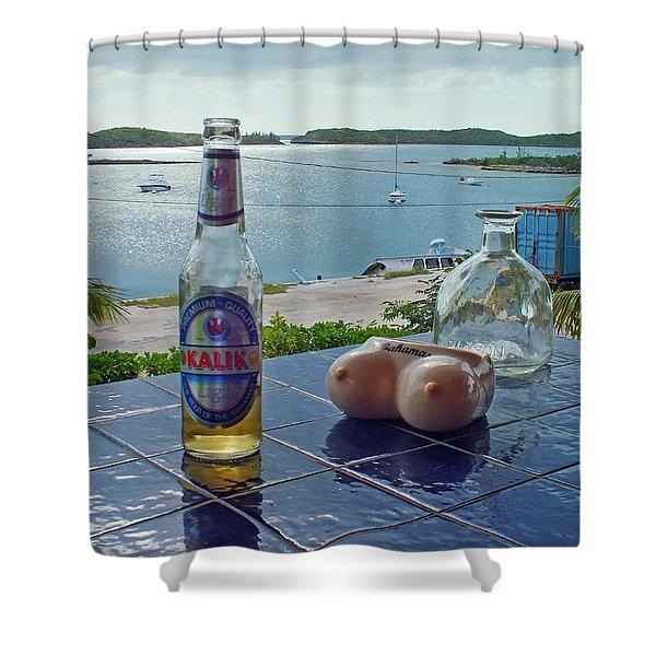Kalik Beer Bottle At The Front Porch Shower Curtain