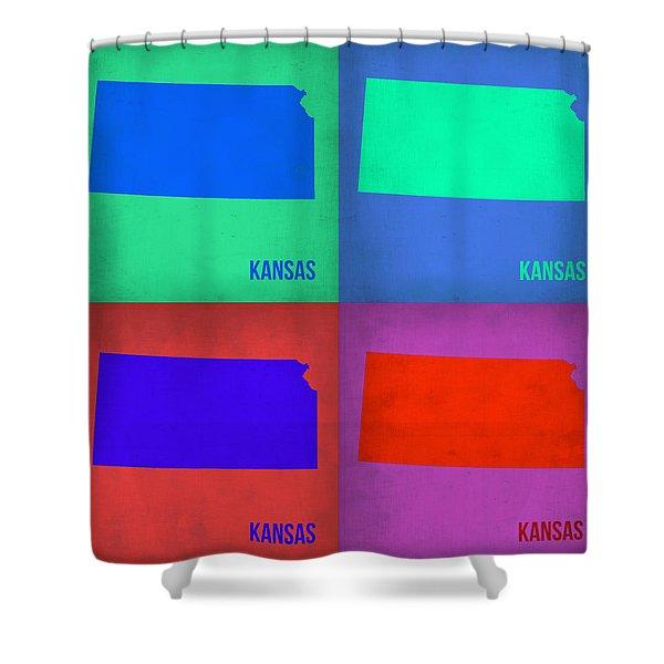Kansas Pop Art Map 3 Shower Curtain