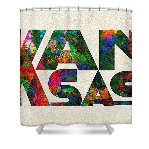 Kansas Typographic Watercolor Map Shower Curtain