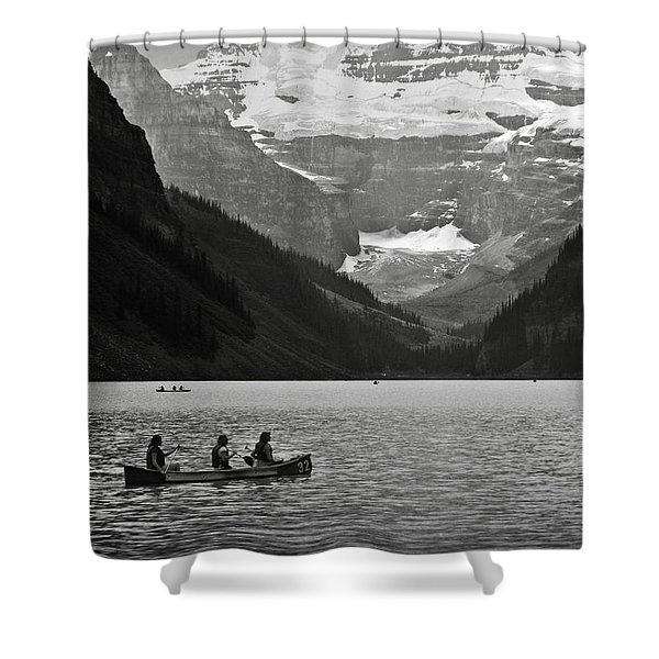 Kayak On Lake Louise Shower Curtain