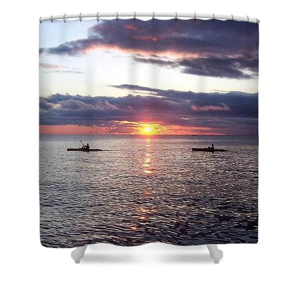 Kayaks At Sunset Shower Curtain