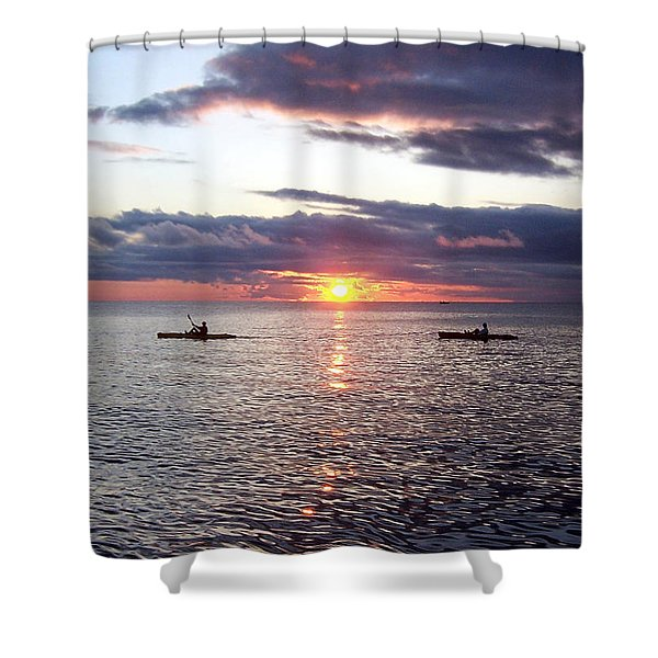 Kayaks At Sunset Shower Curtain