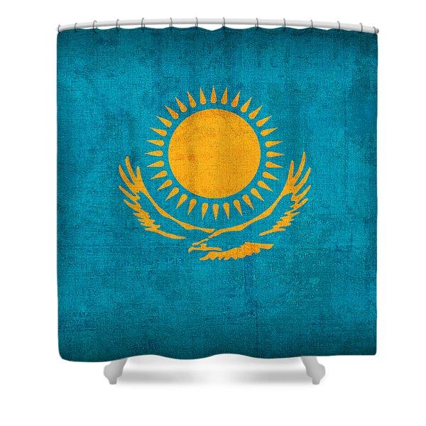 Kazakhstan Flag Vintage Distressed Finish Shower Curtain