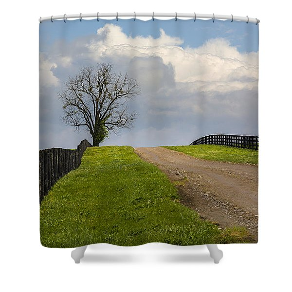 Kentucky Horse Farm Road Shower Curtain