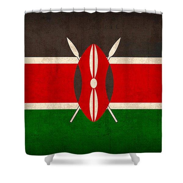 Kenya Flag Vintage Distressed Finish Shower Curtain