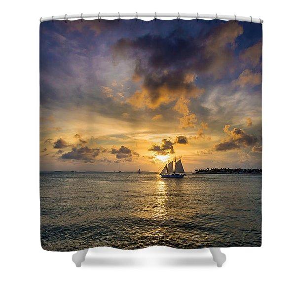 Key West Florida Sunset Mallory Square Shower Curtain