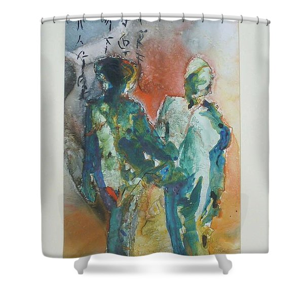 Shower Curtain featuring the painting Kimono Enchantment by Keith Thue