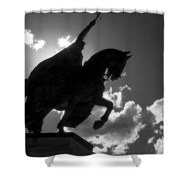 King Horseback Statue Black White Shower Curtain