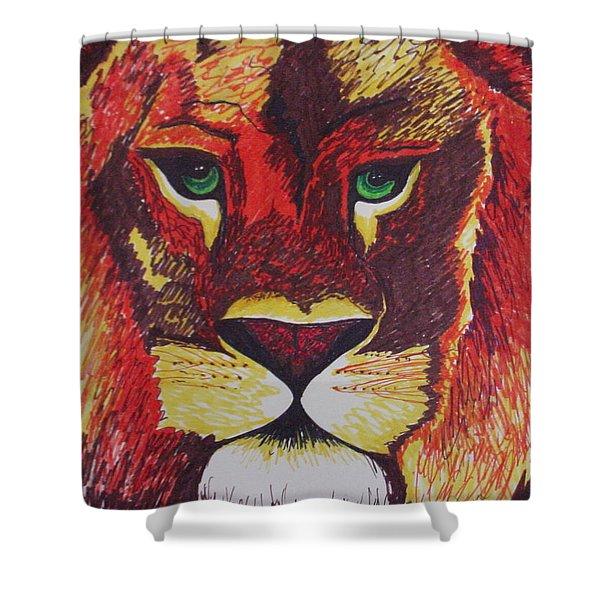 Lion In Orange Shower Curtain