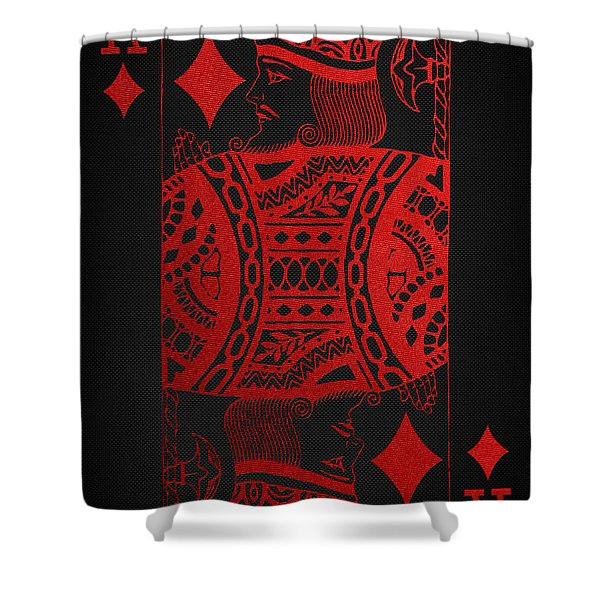 King Of Diamonds In Red On Black Canvas   Shower Curtain