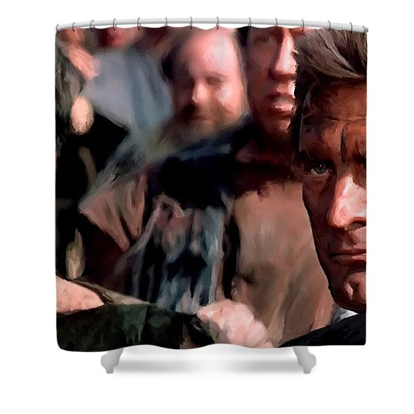 Kirk Douglas And Tony Curtis In The Film Spartacus Shower Curtain