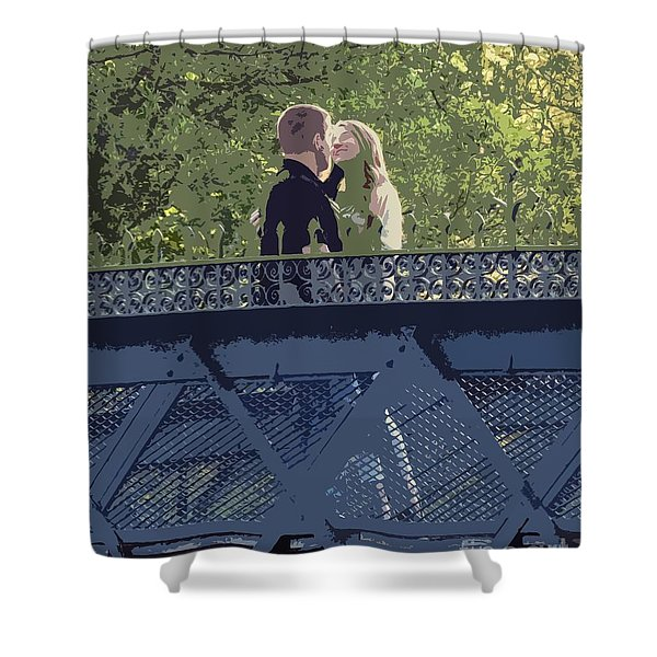 Kissing On A Bridge Shower Curtain
