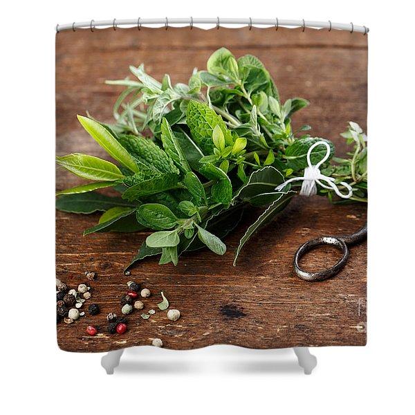 Kitchen Herbs Shower Curtain