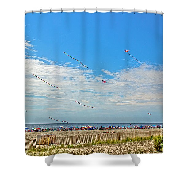 Kites Flying Over The Sand Shower Curtain
