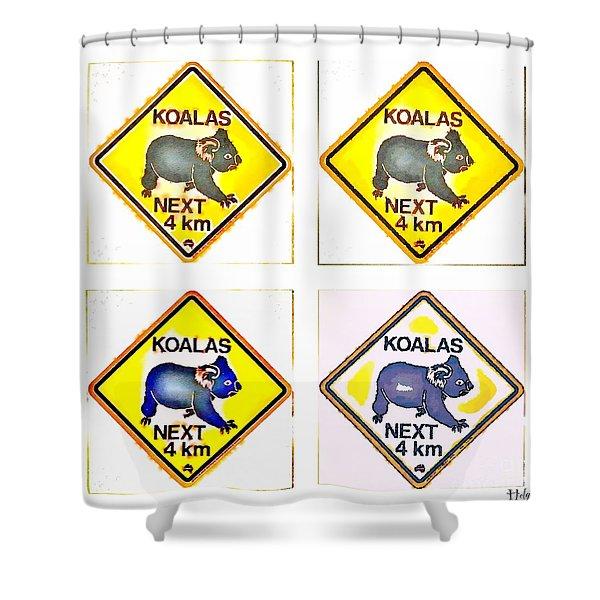 Koalas Road Sign Pop Art Shower Curtain