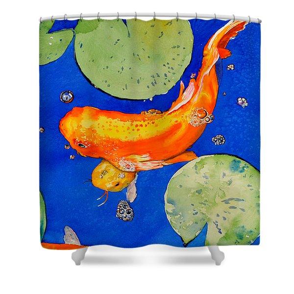 Da201 Koi Fish By Daniel Adams Shower Curtain