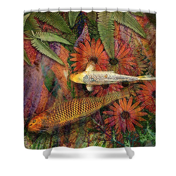 Shower Curtain featuring the mixed media Kona Kurry by Christopher Beikmann