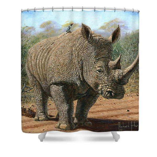 Kruger White Rhino Shower Curtain