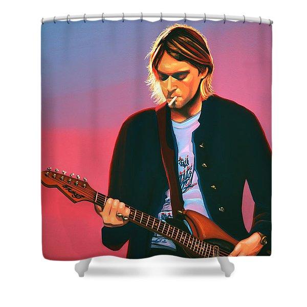 Kurt Cobain In Nirvana Painting Shower Curtain