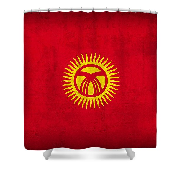 Kyrgyzstan Flag Vintage Distressed Finish Shower Curtain