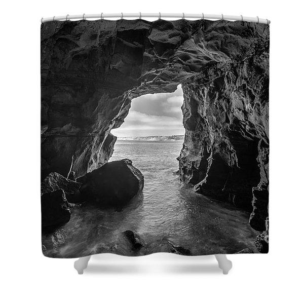 La Jolla Cave Bw Shower Curtain
