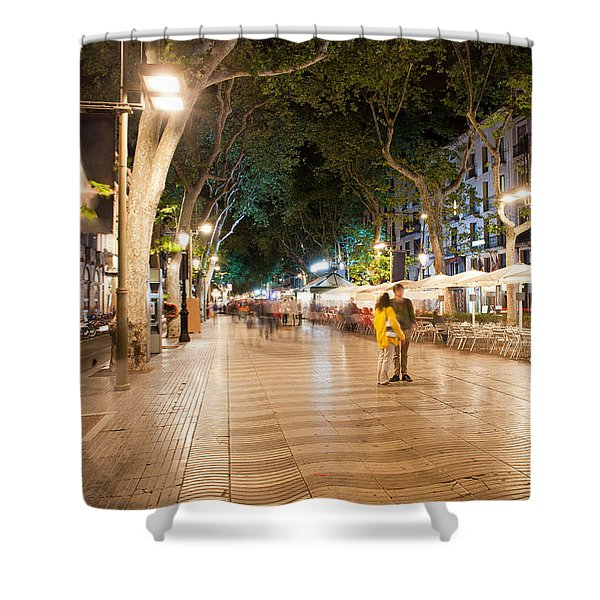La Rambla At Night  In Barcelona Shower Curtain