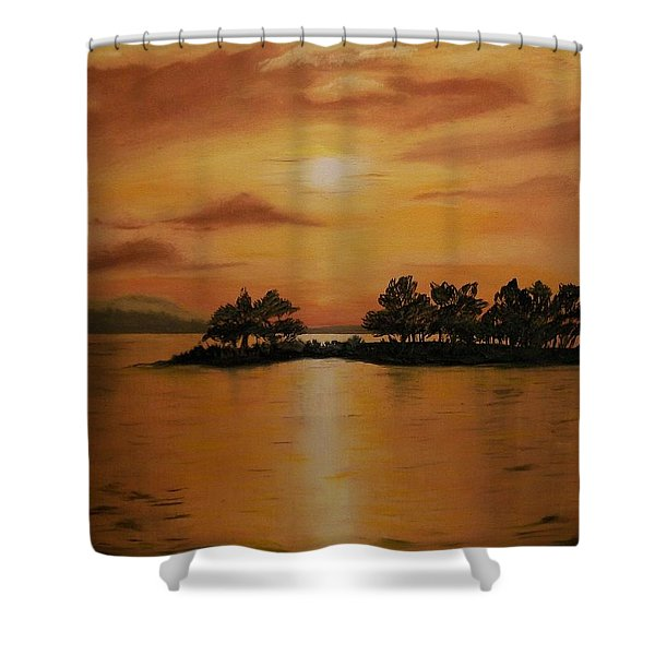 Lac La Biche  Sunset Shower Curtain