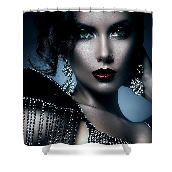 Lady Green Eyes Shower Curtain