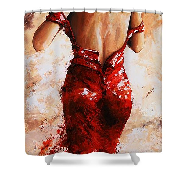 Lady In Red #24 Large  Shower Curtain