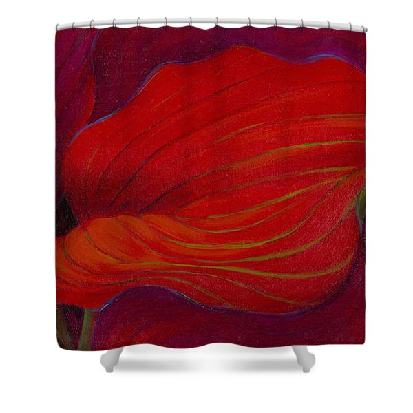 Shower Curtain featuring the painting Lady In Red by Sandi Whetzel