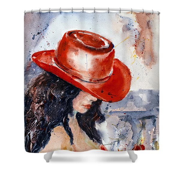 Shower Curtain featuring the painting The Red Hat by Genevieve Brown