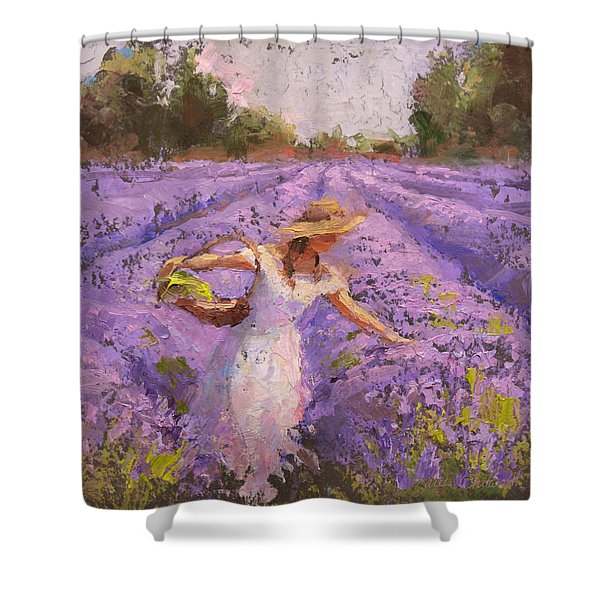 Woman Picking Lavender In A Field In A White Dress - Lady Lavender - Plein Air Painting Shower Curtain