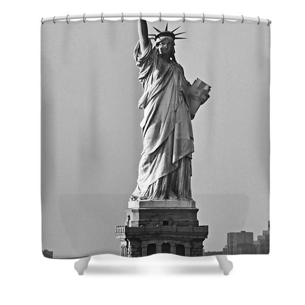 Lady Liberty Black And White Shower Curtain