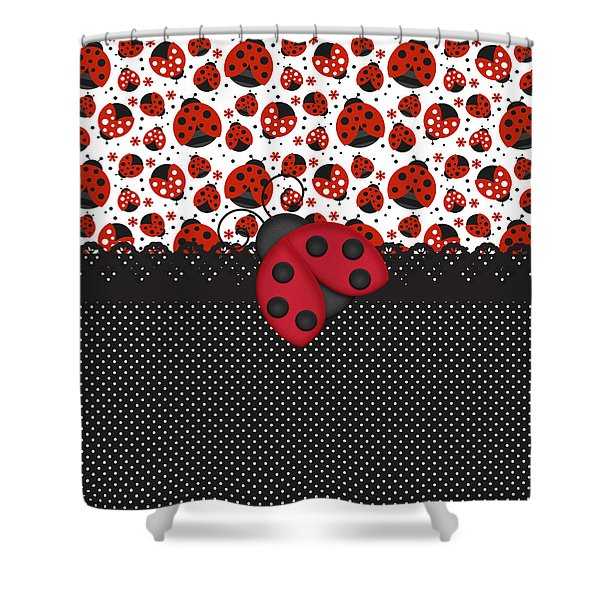 Ladybug Mood  Shower Curtain