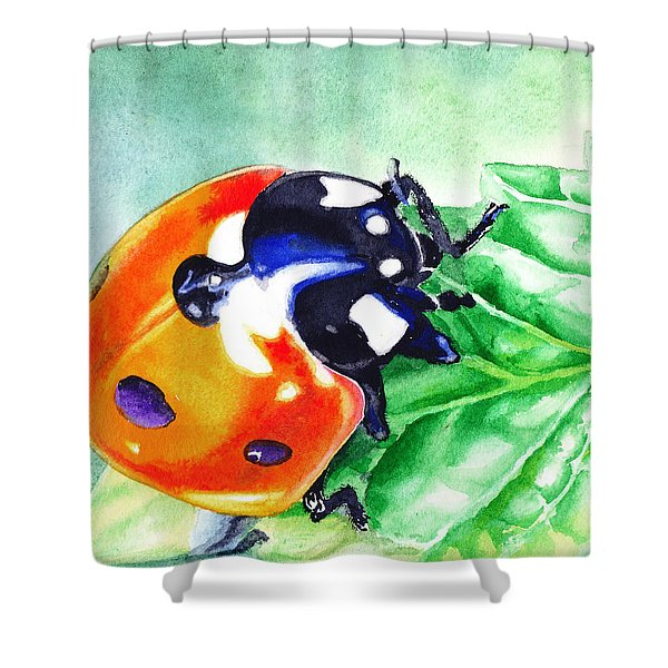 Ladybug On The Leaf Shower Curtain
