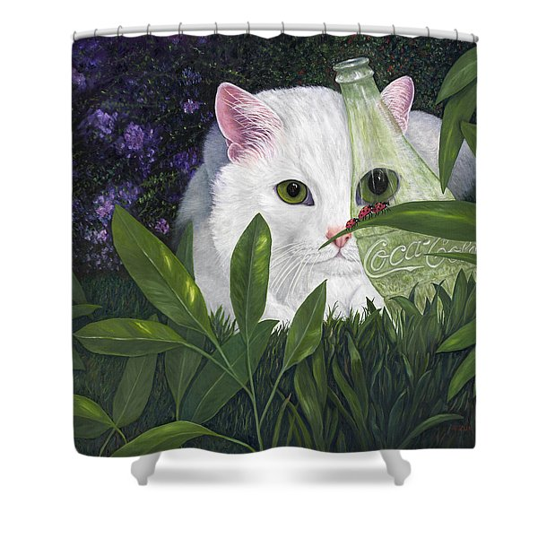 Ladybugs And Cat Shower Curtain