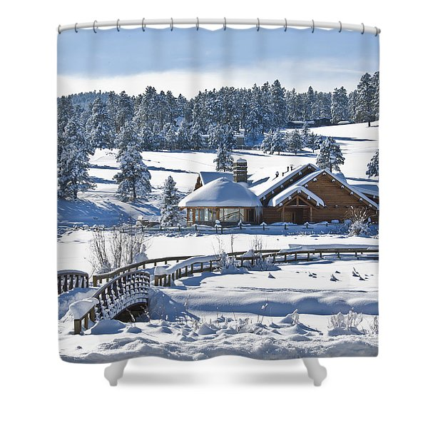 Lake House In Snow Shower Curtain