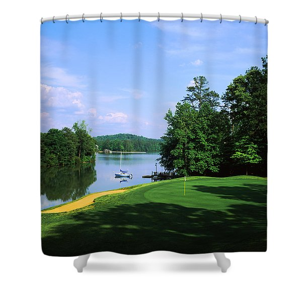 Lake On A Golf Course, Legend Course Shower Curtain