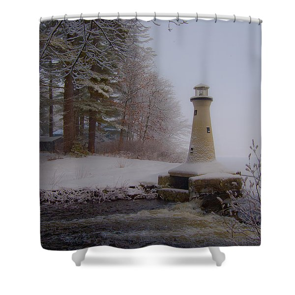 Lake Potanipo Lighthouse Shower Curtain