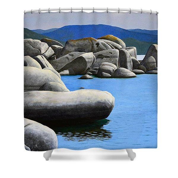 Lake Tahoe Rocky Cove Shower Curtain