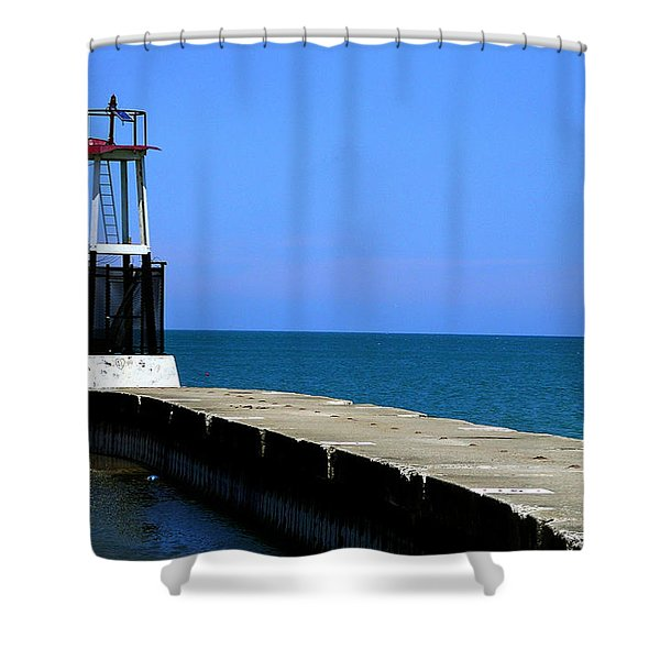 Lakefront Pier Tower Shower Curtain