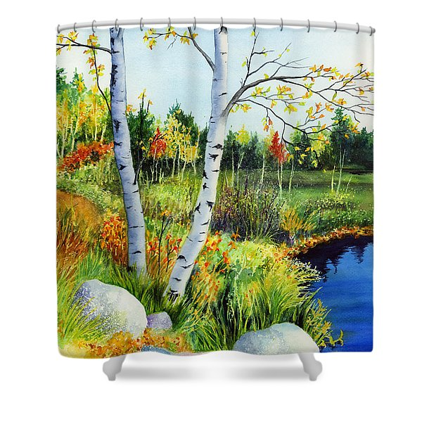 Lakeside Birches Shower Curtain