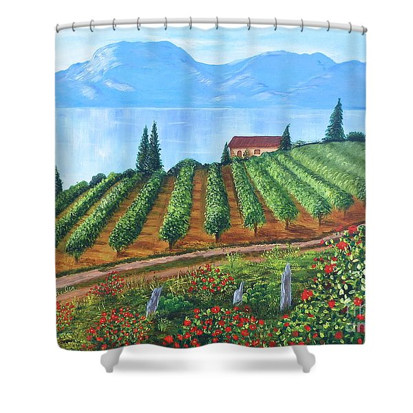 Lakeside Vineyard Shower Curtain