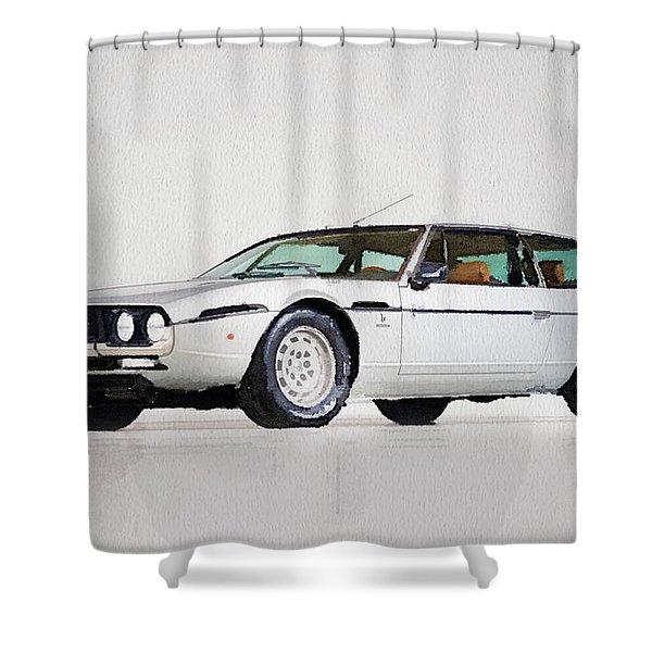 Lamborghini Espada Watercolor Shower Curtain