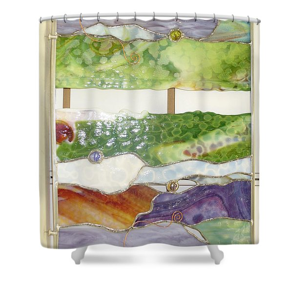 Shower Curtain featuring the glass art Landscape 2 by Karin Thue