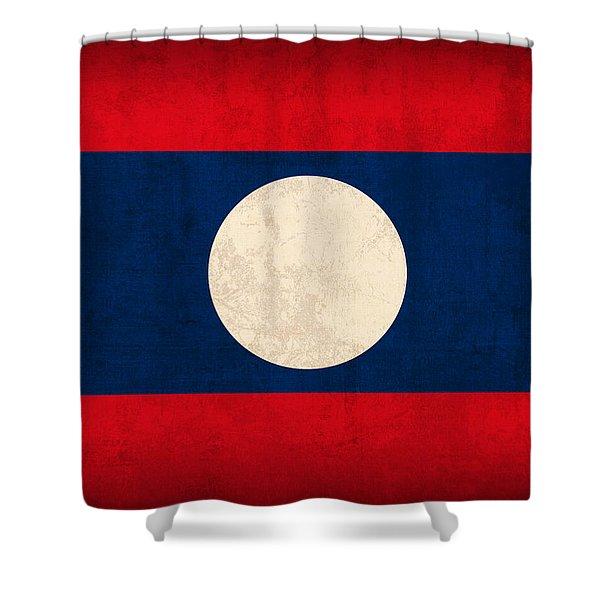 Laos Flag Vintage Distressed Finish Shower Curtain