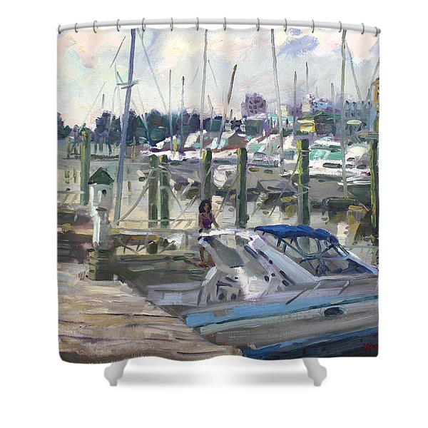 Late Afternoon In Virginia Harbor Shower Curtain