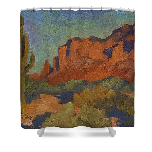 Late Afternoon Light At Superstition Mountain Shower Curtain